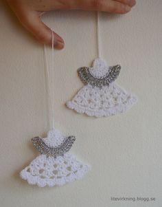 LiteVirkning - Virkade änglar att hänga i granen (crochet)