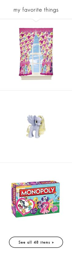 """""""my favorite things"""" by pinkie8 ❤ liked on Polyvore featuring home, home decor, window treatments, curtains, twin pack, pair curtains, my little pony, mlp, pictures and toy"""
