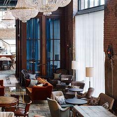 Soho House Opens | Restaurant Interior. Interior Design. Modern Interior #interiordesign #moderndecor #restaurantinterior Read more: https://www.brabbu.com/en/inspiration-and-ideas/world-travel/sophisticated-upholstered-bar-stools-want