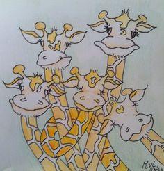 Drawing for children l tekening voor kinderen l giraffes l sweet l mariellevanleeuwen@live.nl l 23-03-2015