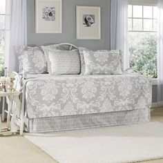Laura Ashley Venetia Daybed Cover Set, Gray: Laura Ashley daybed cover set includes quilted daybed cover with split corners, bed skirt and 3 coordinating standard shams. Dress up your room with our signature Laura Ashley prints. Daybed Cover Sets, Daybed Sets, Daybed Bedding, Comforter Sets, Daybed Room, Gray Bedding, Duvet Covers, Bed Couch, Laura Ashley Venetia