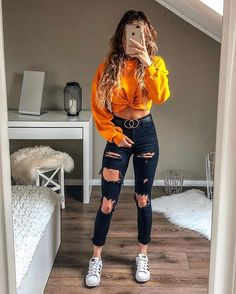 young girl wearing blue ripped jeans, yellow sweatshirt and white . - young girl wearing blue ripped jeans, yellow sweatshirt and white sneakers – - Teen Fashion Outfits, Outfits For Teens, Winter Outfits, Fashion Ideas, Trendy Clothes For Teens, Clothes For Girls, Teen School Outfits, White Girl Outfits, Spring Outfits For Teen Girls