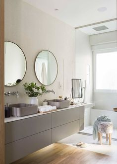 Wood Framed Mirror, Small Mirrors, My Dream Home, Double Vanity, Chic, Bedroom Decor, New Homes, Bathroom, Furniture