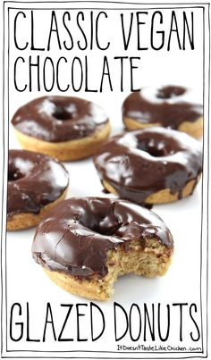 Fluffy baked PERFECT classic vegan chocolate glazed donuts Just 25 minutes to make and are baked - aka you can have two Dairy free egg free itdoesnttastelikechicken Vegan Dessert Recipes, Donut Recipes, Tasty Vegan Recipes, Vegan Chicken Recipes, Healthy Vegan Desserts, Cookie Recipes, Donuts Vegan, Dairy Free Donuts, Donuts Donuts