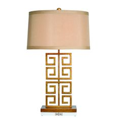 Greek Key Lamp by Couture Lamps {shopthemanor.com} #greekkey #lamp #gold