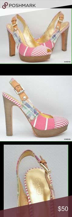 """Coach Berli Slingback Heels Madras Pink Nautical-inspired canvas stripes and a natural leather ankle strap have a graphic effect on a dramatic peep-toe with a leather-wrapped platform and a shimmering metallic leather lining.  Authentic COACH shoe Striped canvas Buckle closure 4 3/4"""" heel with 1"""" platform Leather sole Style no: A3269 Color: Madras/Pink Coach Shoes Heels"""