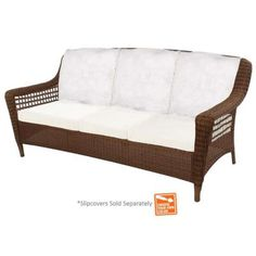 Hampton Bay Spring Haven Brown Wicker Patio Sofa with Cushion Insert (Slipcovers Sold Separately)-56-20309 - The Home Depot