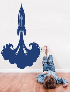 3ed3870c7ff ik1184 Wall Decal Sticker space rocket bedroom satellite saturn planet