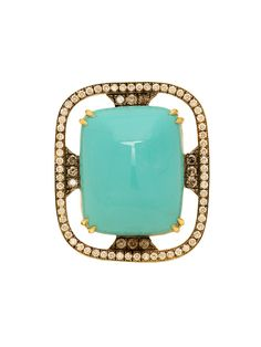 Sylva & Cie 18k Yellow Gold Diamond and Turquoise Ring.