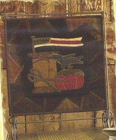 Primitive Folk Art Wool Applique Table Mat by PrimFolkArtShop