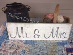 Primitive Wood Sign Mr and Mrs Shabby  by MasonDixonLineSignCo, $7.99