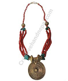 Hand Made Necklace :: Tibetan Ethnic Coral Necklace :: Creative Hand Nepal :: Nepal Trade Fair an Online Wholesale Handicraft Marketplace !