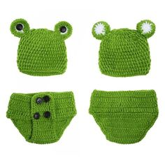 0-12M Newborn Baby Photo Props Infant Baby Crochet Frog Hats Knitted Tod #lmbngtay
