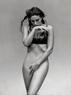 "Monica Bellucci (b. 1964) by Peter Lindbergh. ""I feel fine and comfortable with myself, but not because I'm beautiful"""