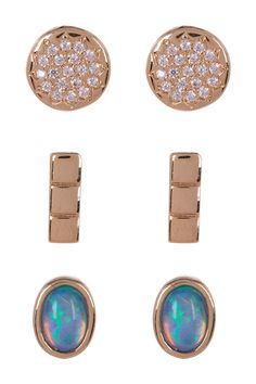 4877313db Nordstrom Rack - Bezel Set & Pave CZ Mixed Stud Earrings - Set of 3.