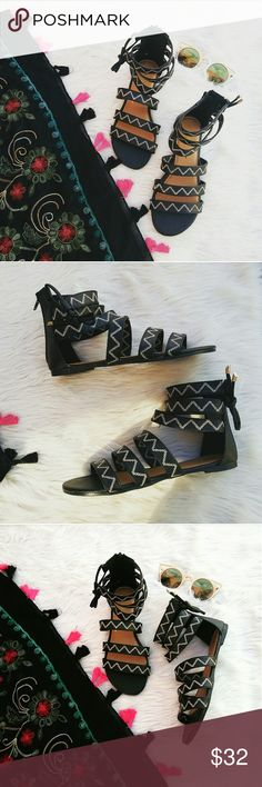 //The Florence// Black Tribal strappy Sandal Brand new Never been worn Comes im original box No trades!! Price is Firm!! Many more sizes Available True to size Vegan leather All man made materials Shoes Sandals