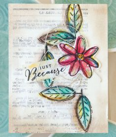 Mischelle Smith's card collection uses old book pages and vibrant watercolors to highlight the stamped images. | The Stampers' Sampler