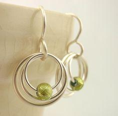 My Three Hoops Petite Earrings - Non Tarnish Silver Plate. $12.00, via Etsy.