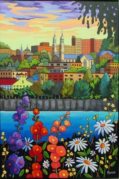 Panorama du Saguenay by Louise Marion - Louise Marion, artiste peintre, paysage urbain, Quebec, couleurs