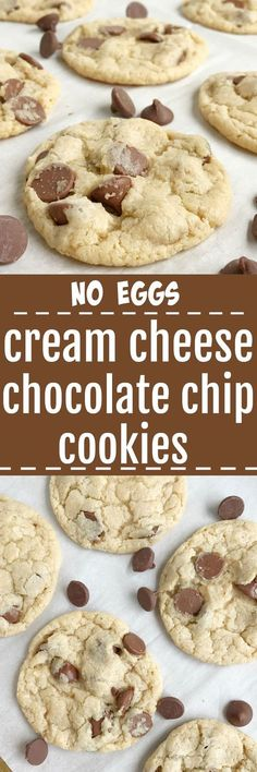 Cream cheese chocolate chip cookies are a fun twist to the classic. No egg needed with these cookies! Soft, sweet, and creamy chocolate chip cookie dough loaded with milk chocolate chips. We LOVE these cookies for dessert | togetherasfamily.com