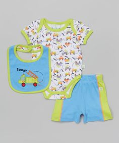 This Green & Blue 'Zoom' Truck Bodysuit Set - Infant by Duck Duck Goose is perfect! #zulilyfinds