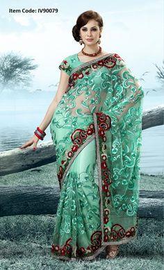 Vivacious Light Green Embroidered Saree @£ 149.50