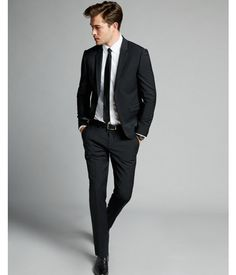 Express Extra Slim Black Performance Stretch Wool-Blend Suit Pant – Men's style, accessories, mens fashion trends 2020 Mens Fashion Suits, Fall Fashion Outfits, Mode Outfits, Mens Suits, Casual Outfits, Grey Suits, Mode Masculine, Casual Groom Suits, Black Suit Men