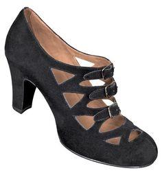Aris Allen 1940s Black Faux Suede 3 Buckle Heeled Dance Shoes on Sale