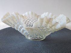Vintage Hobnob or Hob Nob Opaque Milk WhiteGlass Bowl with Clear Bottom #Hobnob