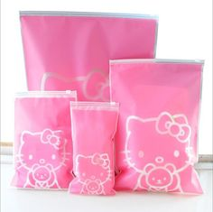 5 Pcs/Set Hello Kitty Travel Storage Bags Organizer For Clothe Shoes Underwear Socks.