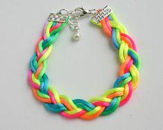 satin neon braided bracelet