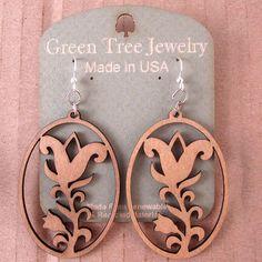 FLOWER OVAL Green Tree Jewelry TAN laser-cut wood earrings made-in-USA 1182  #GreenTreeJewelry #DropDangle