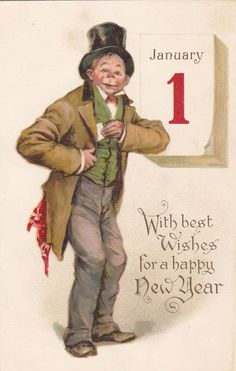 Frances Brundage : NEW YEAR , Man in tophat , 00-10s,  TUCK