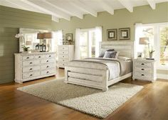 Willow Casual Distressed White Wood 5pc Bedroom Set W King Slat Bed Bedrooms