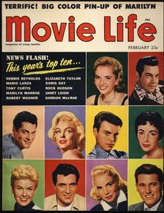 1955 Movie Life Magazine w Beautiful 2 Page Color Pin Up Poster Marilyn Monroe…