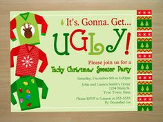 Custom Ugly Christmas Sweater Party Invitation by SquigglesDesigns, $10.00