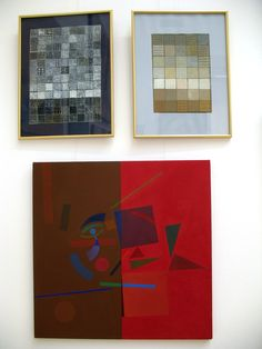Yuri Yudaev. Three abstract works exhibited at the Central House of Artists, Moscow. September 2014.