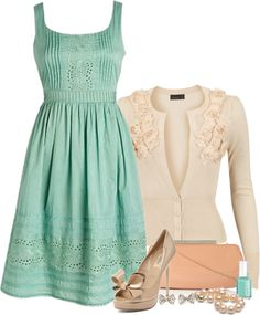 LOLO Moda: Elegant Mint Classic Strap Spring Dress with a Vintage Look, Coupled with Detailed Ivory Sweater and Taupe Shoes w/Clutch. Top Off with Mint Polish and Accessories for a Complete Mature Look! Pretty Outfits, Pretty Dresses, Fashion Moda, Womens Fashion, Fashion 2018, Cheap Fashion, Dress Fashion, Fashion Fashion, Fashion News