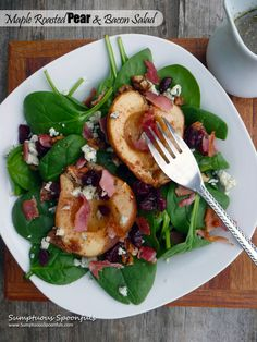 Maple Roasted Pear and Bacon Salad...with dried cranberries, blue cheese, candied walnuts and maple Dijon white wine vinaigrette