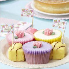 WOW 20 X VINTAGE ROSE FLAG PICKS CUPCAKES SANDWICH CAKE SHABBY CHIC TEA PARTY