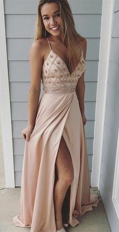 Spaghetti Straps Prom Dresses,long Prom Dress, Beaded Prom Gown,party Dress With Side Slit