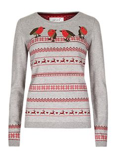 Cute Christmas Jumpers - Cotton Rich Embroidered Robin Jumper with Wool from M&S #christmas #christmasjumpers