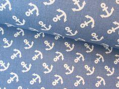 Kinderstoffe - Baumwoll Canvas Vor Anker Frau Tulpe jeansblau - ein Designerstück von Fiebmatz bei DaWanda