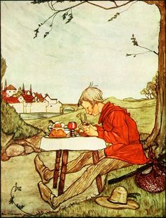 """1.  He Said, """"Little Table Set Thyself!"""" (Frontispiece)   ---    Rie Cramer Illustrations: Grimm's Fairy Tales."""