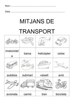 Mitjans de transport Spanish Lessons For Kids, Capes, Valencia, Conte, Transportation, Teaching, School, Angles, Notebook
