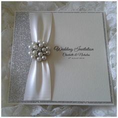 Stunning invitations designed with glitz and glamour in mind. These pocketfold invitations are layered a densly glittered paper, wide satin Luxury Wedding Invitations, Wedding Stationary, Wedding Favours, Engagement Cards, Wedding Anniversary Cards, Glitter Wedding, Wedding Scrapbook, Wedding Crafts, Invitation Cards
