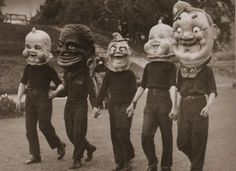 European papier mache parade masks from the late 1930s. This would scare me into hiding under my sofa and never coming out ever again