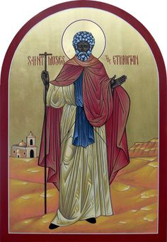 "Όσιος Μωυσής ο Αιθίοπας___aug 28 (August 28 - Saint Moses The Ethiopian ""If a man's deeds are not in harmony with his prayer, he labors in vain. St Moses The Black, Black Hebrew Israelites, Black History Facts, Orthodox Christianity, Prayer Cards, Orthodox Icons, Christian Life, Saints, Prayers"