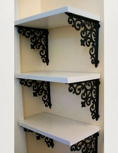 Shelf Bracket, Set of Two, Cast Iron Shelf Brackets, Shabby Chic Beige, Medium, 8x8, Fleur de lis Scrolled. Sanded, Primed, then Painted 2 Coats