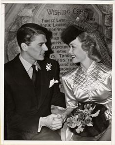 Ronald Reagan and Jane Wyman on their wedding 1940 day. They divorced in 1948.